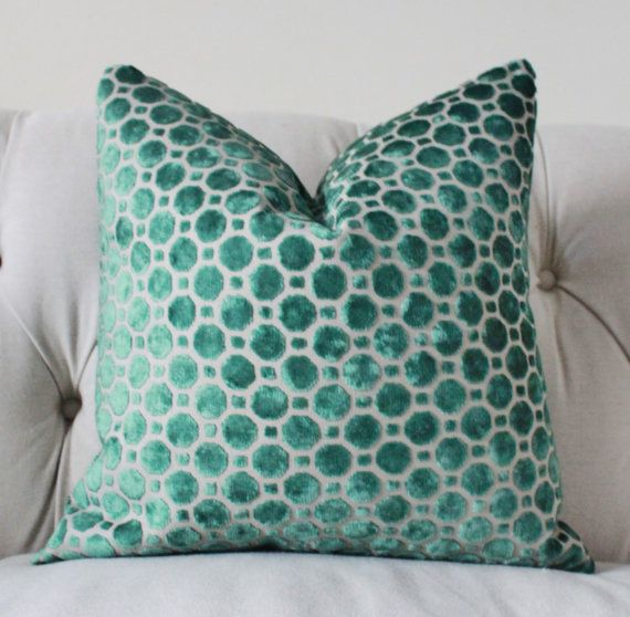 Decorative Pillows With Green : Decorative Designer Pillow Cover - Geometric Emerald Green Velvet Pil?