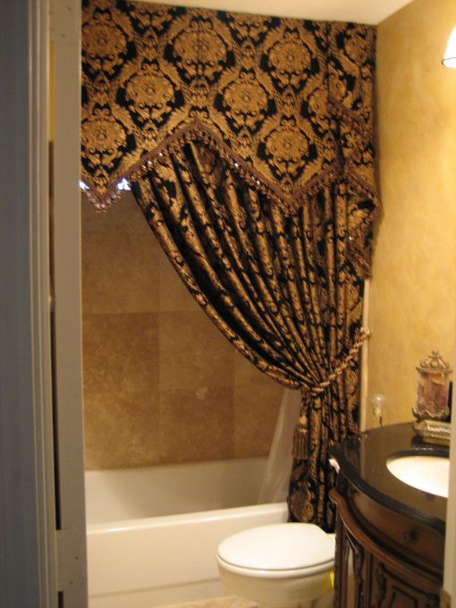 shower curtain black and gold windows wall art