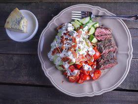 ... Wedge Salad with Skirt Steak and a Greek Yogurt Blue Cheese Dressing