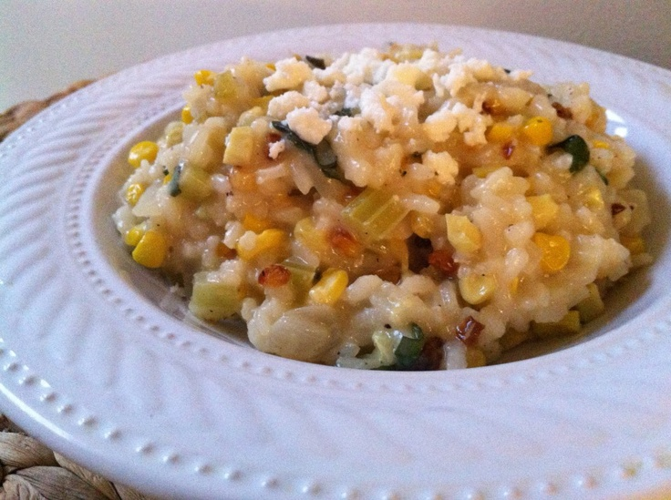 roasted corn risotto with basil and feta | bake it | Pinterest