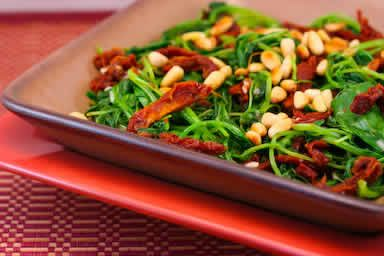 ... Sauteed Broccoli Rabe Recipe with Sun-Dried Tomatoes and Pine Nuts