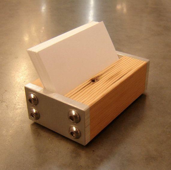 Modern business card holder in metal and reclaimed fir for Modern business card case