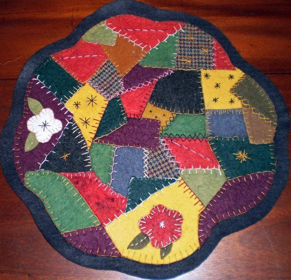 Crazy Quilt Pattern Images : CRAZY QUILT Penny Rug Pattern Because I FELT like it! Pinterest