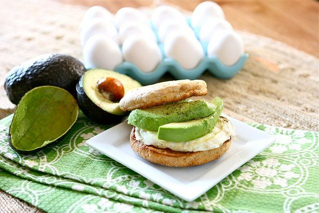 Egg and avocado English muffin | Avocados....soooo good! | Pinterest