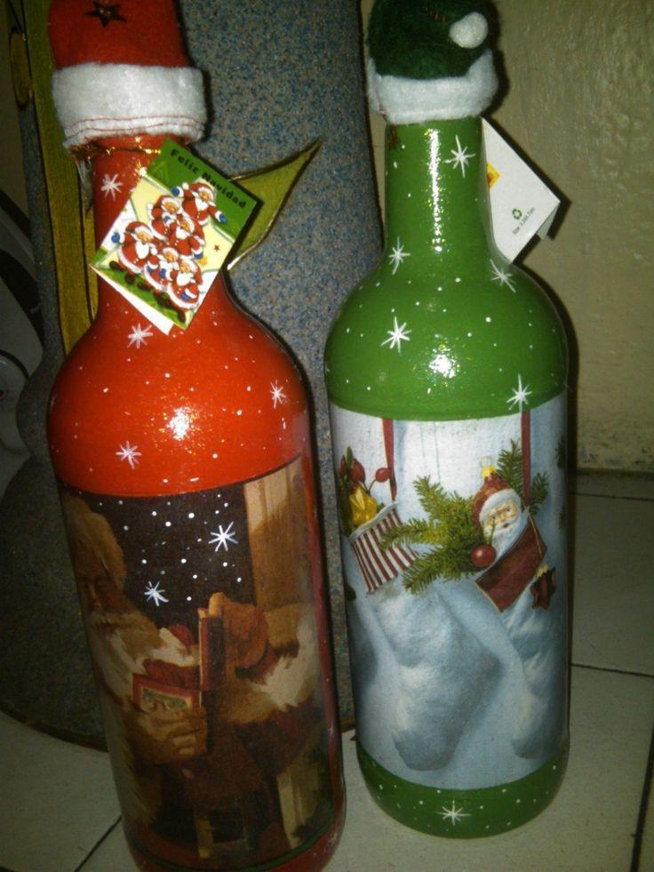 Botella decorada botellas navide as pinterest - Botellas decoradas navidenas ...