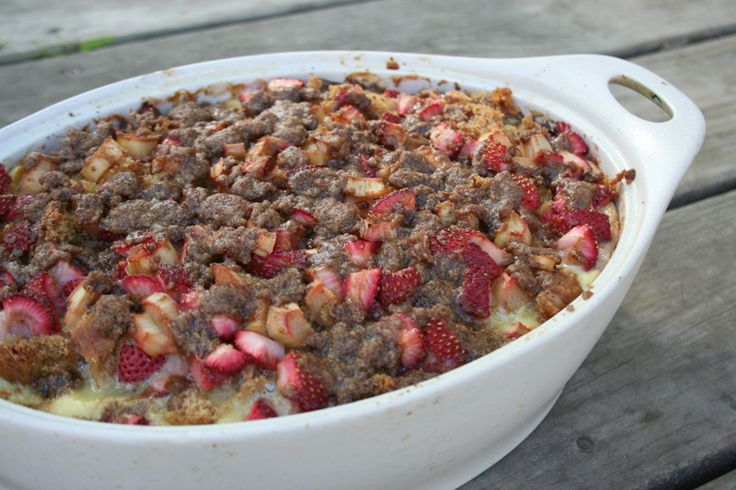 This baked strawberry and rhubarb french toast casserole is simple to ...