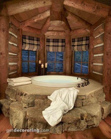 Hot Tub Heaven In Log Cabin Home Gorgeous Bathrooms