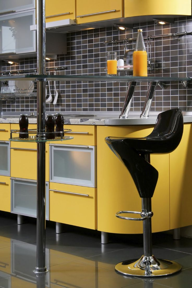 love this black and yellow kitchen kitchens pinterest