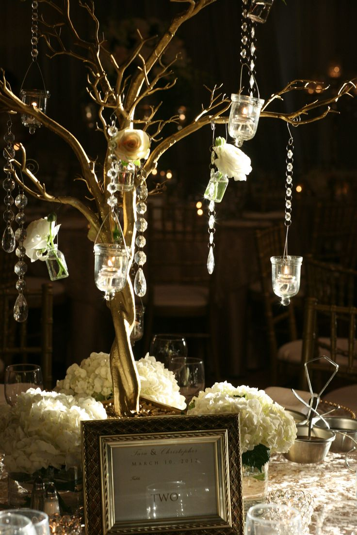 Decorated manzanita tree wedding centerpiece we created at for Wedding centerpieces