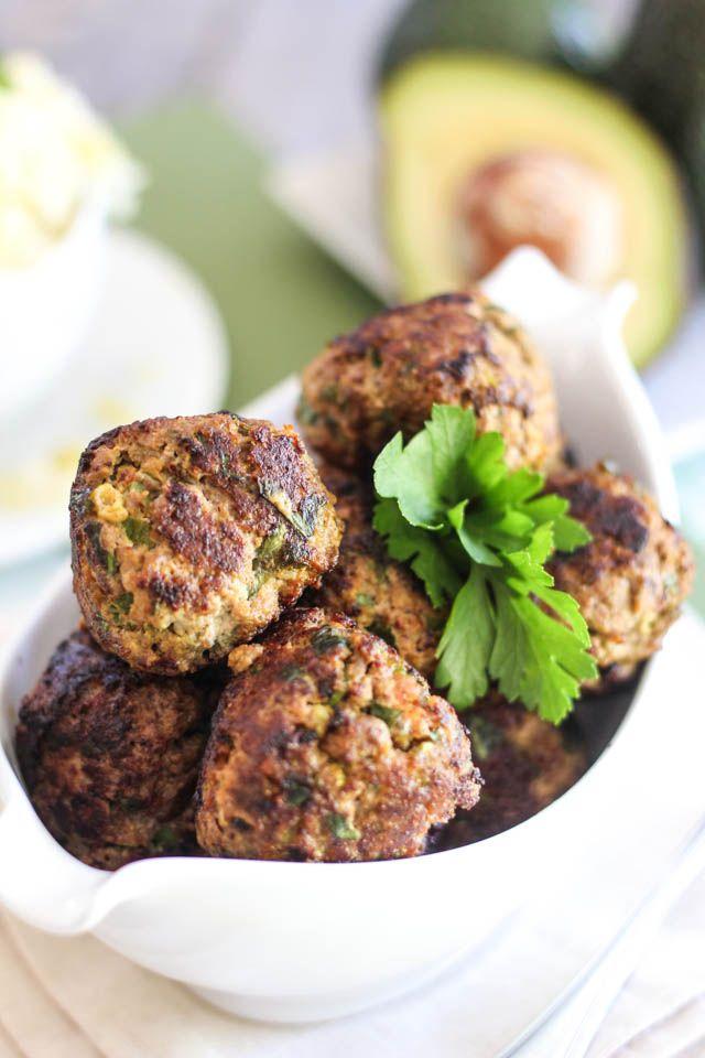 avocado stuffed meatballs // whole30