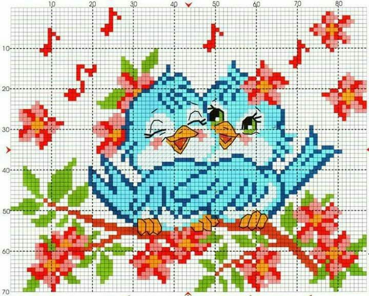 Схема вышивки Птички