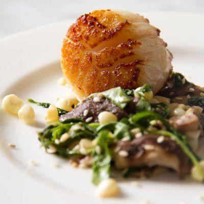 Seared Jumbo Sea Scallops with Wilted Arugula, Corn, Shiitake Salad ...