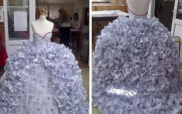 Teen Made Wedding Dress from 1500 Divorce Papers