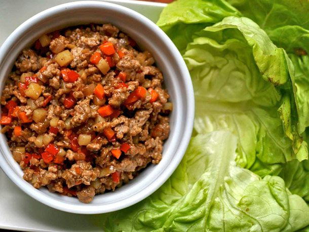 pork lettuce wraps: garlic, hoisin sauce, water chestnuts, oil, yellow ...