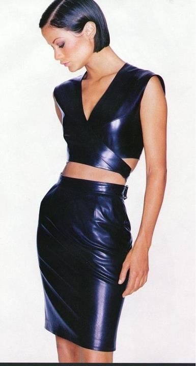 pencil skirt crop top leather dresses