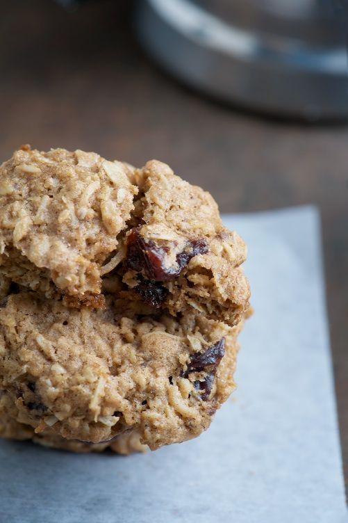 chocolate chunk oatmeal cookies with coconut sweetened dried cherries.
