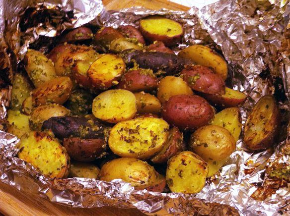 Oil-Free Pesto-Grilled Potatoes