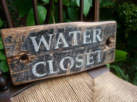 Rustic Distressed Water Closet Wood Bathroom Door Sign