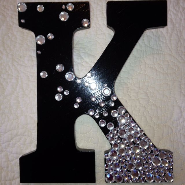 Painted Wood Letter With Rhinestones Designs Ideas