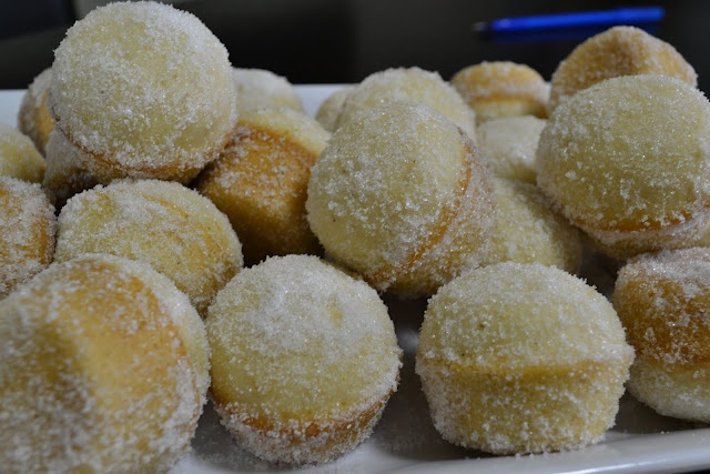 Baked Sugar Donut Mini Muffins making these now!.. looks like dinner ...