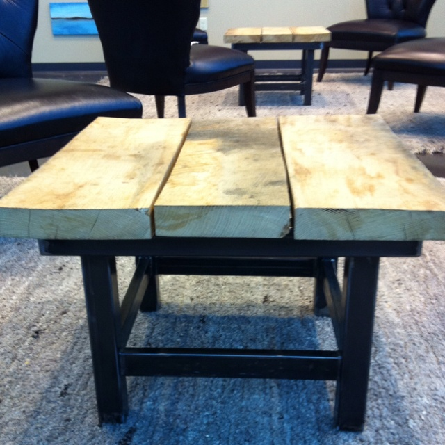 2x6 boards and metal frame coffee table strong an unique