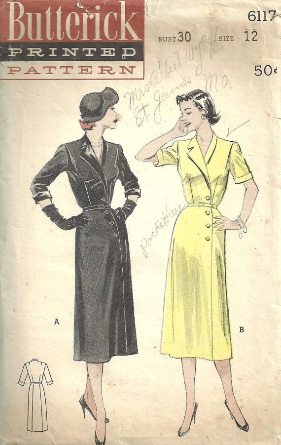 Butterick 6117 Vintage 50s Sewing Pattern Dress by studioGpatterns, $12.50