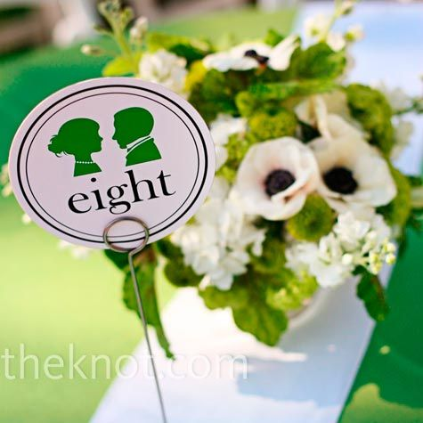 A silhouette of a bride and groom quickly emerged as part of the theme and appeared on everything from the table numbers to the cake.