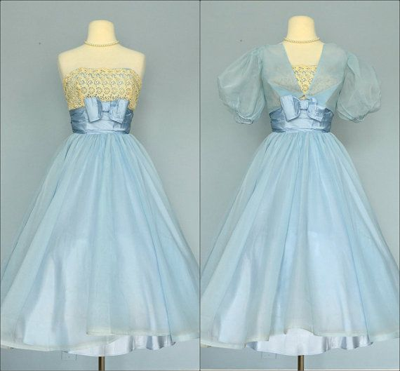 Vintage 1950s Pale Blue Tea Length Chiffon Wedding Dress