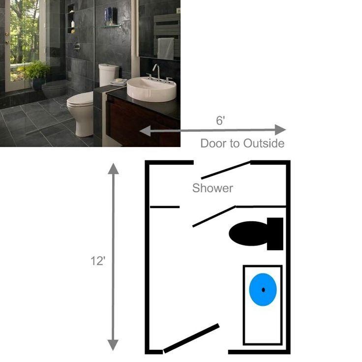 Shower with exterior door and floor plan compact 3 4 Bathroom blueprints for 8x10 space