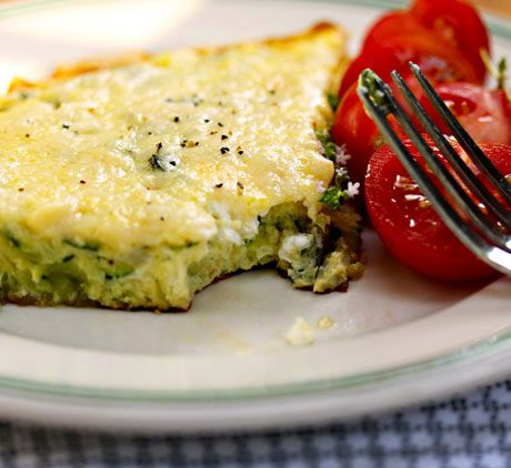 Zucchini, goat cheese and basil frittata | Recipe