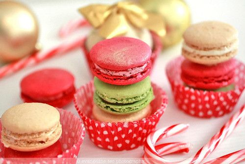 macarons & candy canes. | christmas. | Pinterest