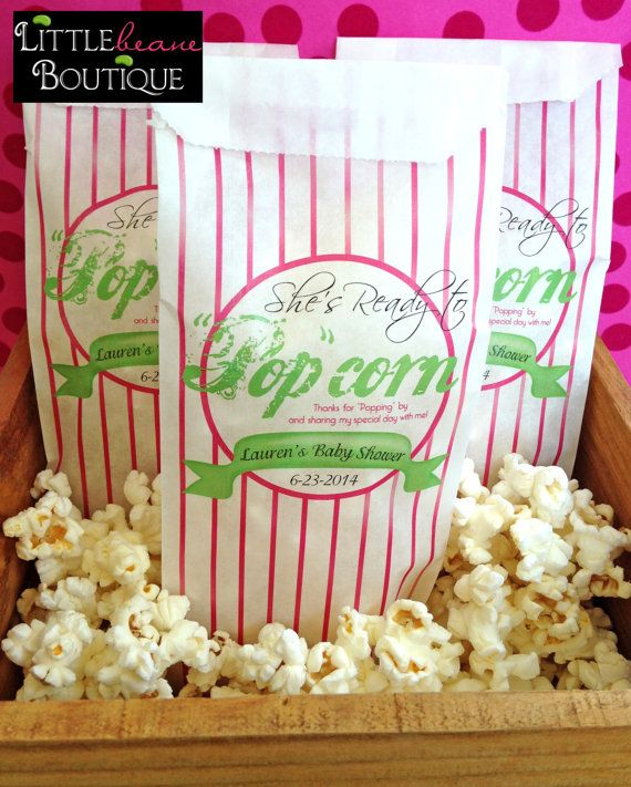 personalized popcorn bags baby shower by littlebeaneboutique