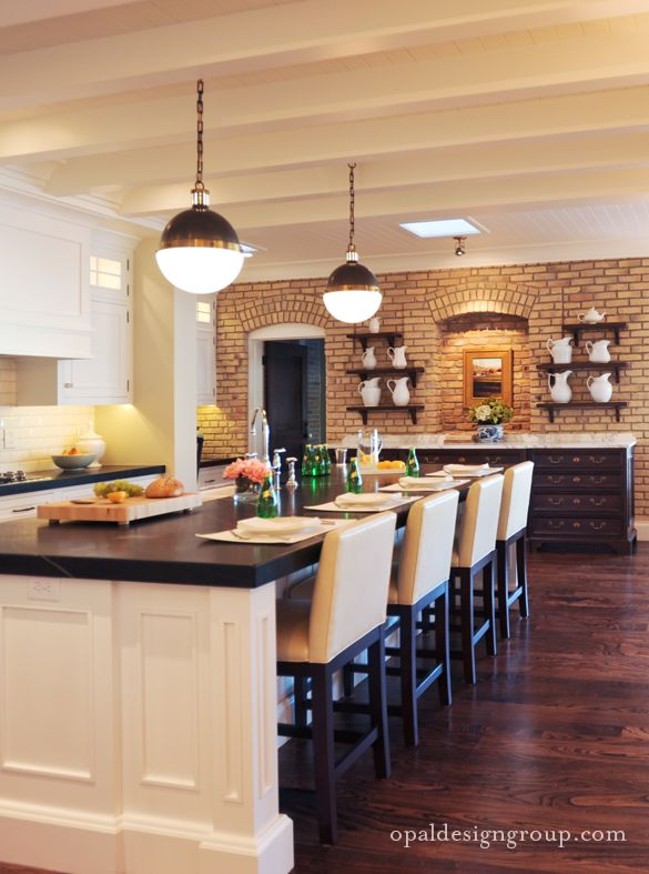 Warm Kitchen With An Exposed Brick Wall Dream Home