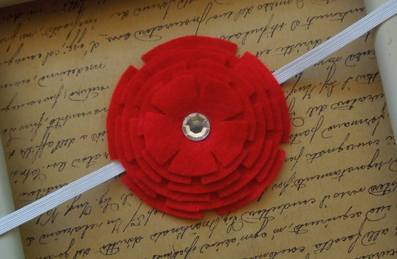 Red Felt Stacked Flower with Rhinestone by SweetTBabyBoutique