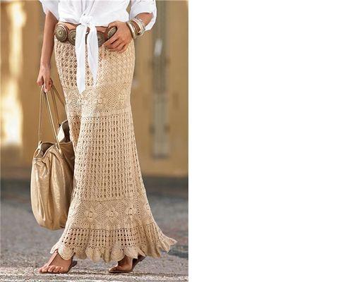 Вязание крючок юбка длинная 684