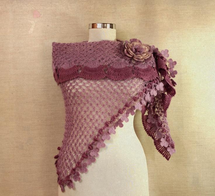 Lilac Fantasy / Crochet Lavander Shawl / Pink, Purple Neckwarmer / Ru ...