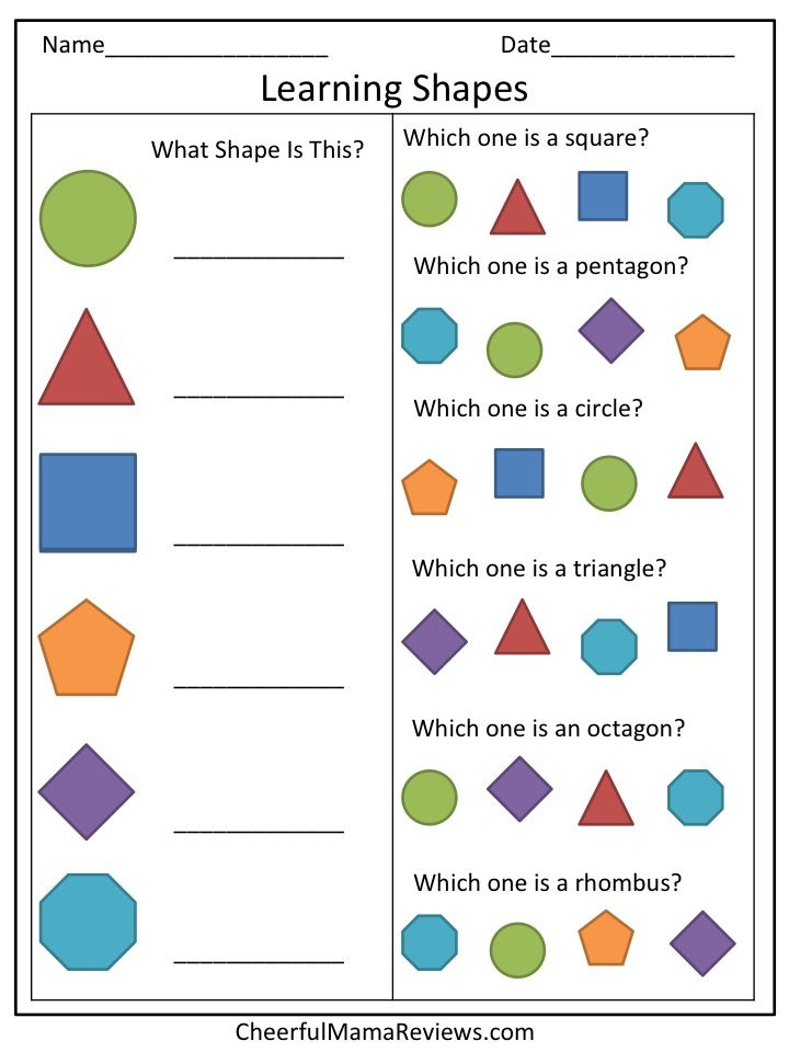 It is a photo of Terrible Printable Shapes for Preschoolers