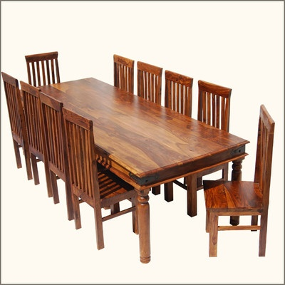 formal 11pc solid wood large family dining table room 10