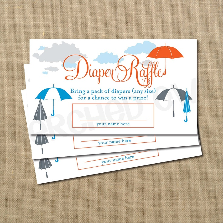 baby shower diaper raffle ticket boy generic theme baby sprinkle