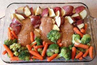 Easy baked chicken dinner. Can use different veggies to change it up! 1 pkg. chicken breasts, 1 pkg. Italian dressing, new potatoes, veggies, 1 stick of butter. Place chicken in 9x13, put veggies on one side, potatoes on other. Sprinkle Italian seasoning, pour 1 stick melted butter on top. Cover with foil, bake at 350 degrees for one hour. Simple as that!