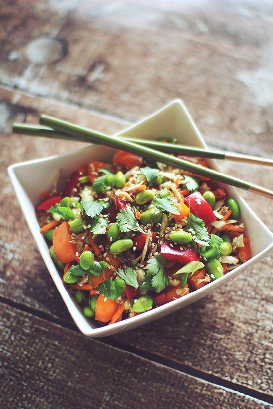 Asian Chicken Edamame Salad - a salad with fresh vegetables, chicken ...