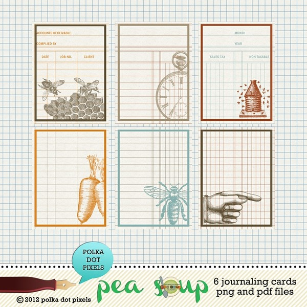pea soup october - stamped journaling cards by Polka Dot Pixels - Two ...