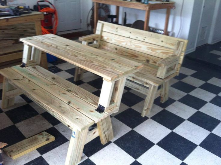 Convertible Bench Picnic Table Plans PDF Woodworking