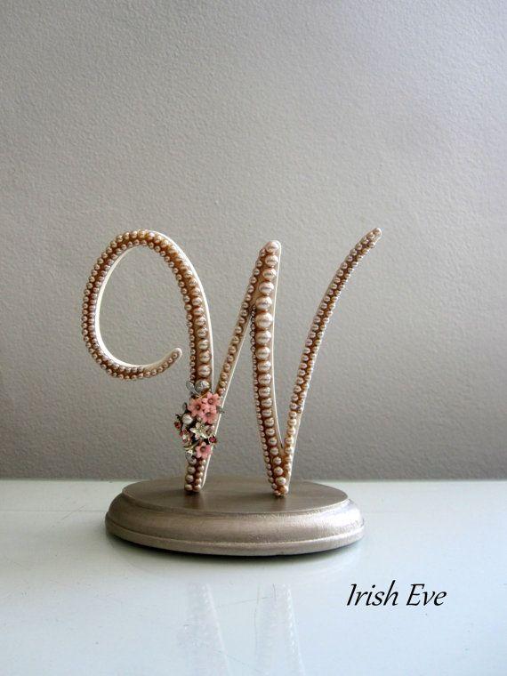 Wedding Cake Top...W Monogram Wedding Cake Toppers