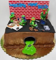 Teenage Mutant Ninja Turtle Cake..sewer pipe with toxic ooze. cover cardboard with fondant and color lemon curd to lime green!
