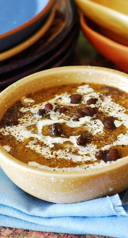 Black bean butternut squash soup. Savory soup where sweetness is ...
