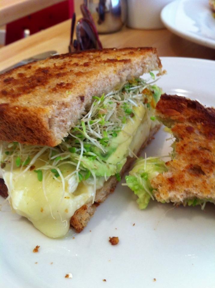Avocado & Brie sandwich w/ alfalfa sprouts & orange marmalade