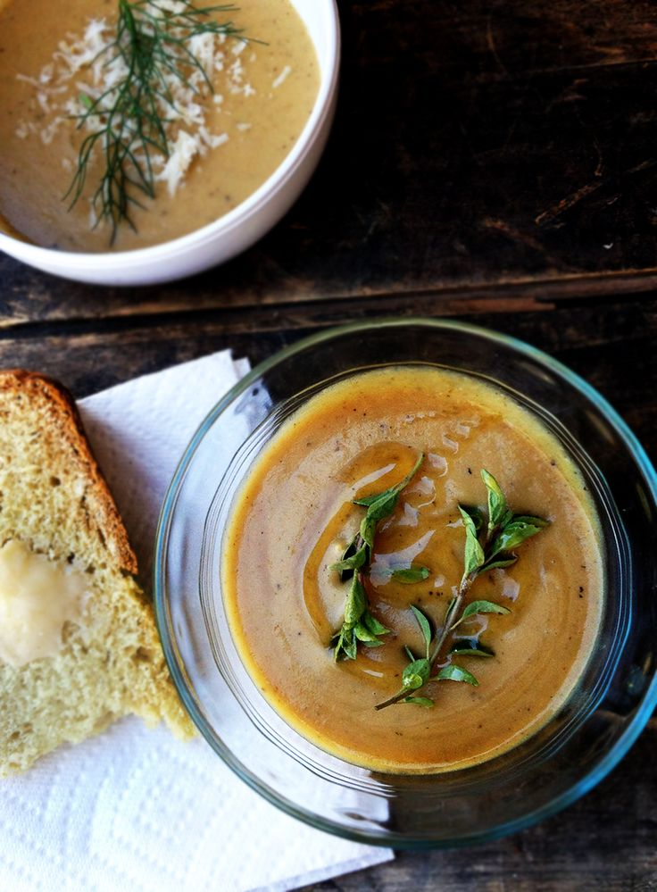roasted fennel soup w/ agave & thyme garnish