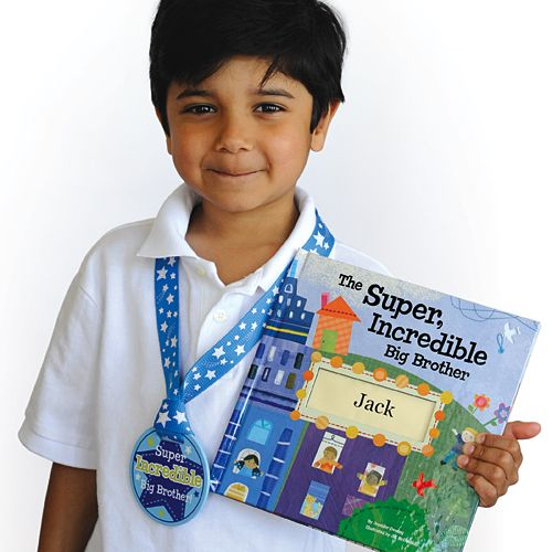 """Big Brother gift idea: give them a personalized """"Big Brother Super-hero"""" book and medal from @I See Me! Personalized Children's Books to make them feel extra special! #bigbrother #giftidea #sibling"""