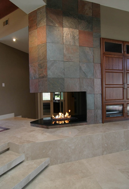 contemporary fireplace with slate tile talk pinterest